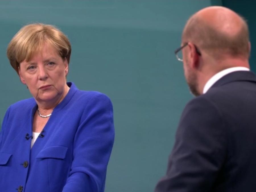 Wenig Dissens bei TV-Duell zwischen Merkel und Schulz